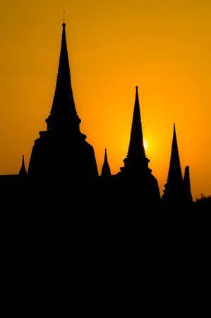 Wat phrasrisanphetch Ayutthaya Historical Park Thailand silhouette photo