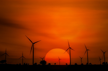 wind mills: The wind turbine generator,the renewable energy Stock Photo
