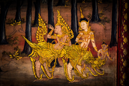 interior drawing: ancient thai painting on wall in thailand buddha temple Stock Photo