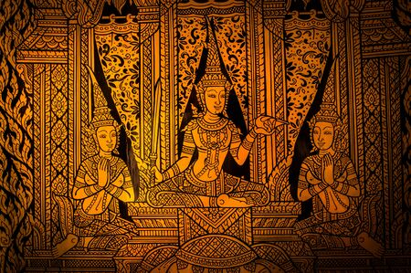 buddha: ancient thai painting on wall in thailand buddha temple Editorial