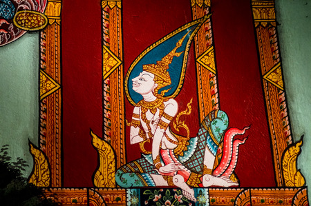thai temple: ancient thai painting on wall in thailand buddha temple Stock Photo