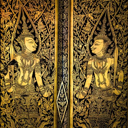 thai painting: ancient thai painting on wall in thailand buddha temple Stock Photo
