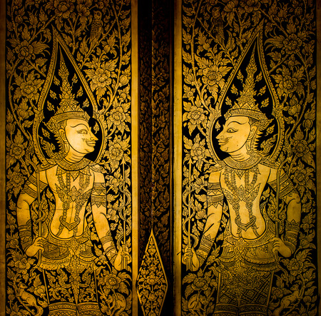 painting style: ancient thai painting on wall in thailand buddha temple Stock Photo
