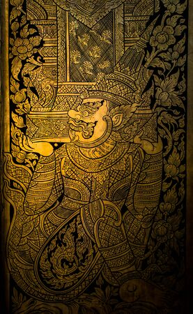 thai painting: ancient thai painting on wall in thailand buddha temple Editorial