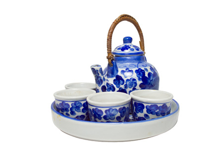 set of chinese blue white ceramic tea pottery isolated on white blackground with clipping path Stock Photo