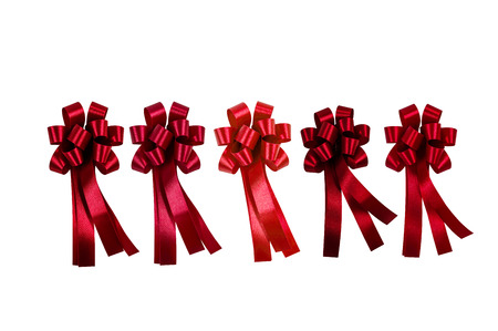 Red ribbon isolated on white background Standard-Bild