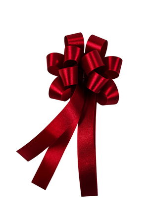 Red ribbon isolated on white background Stock Photo