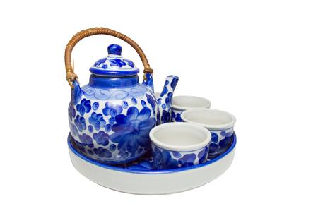 set of chinese blue white ceramic tea pottery isolated on white blackground