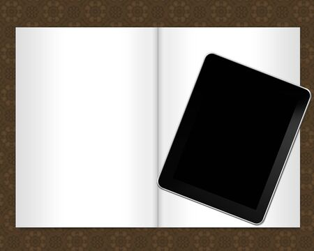 page notebook with tablet pc photo