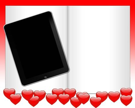 page notebook with a lot of red heart with tablet pc photo
