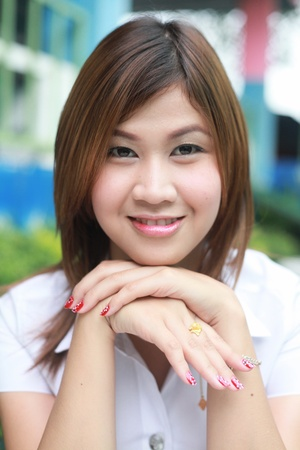 aisa girl university Stock Photo