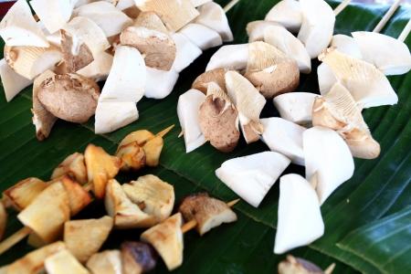 Mushrooms grilled skewers