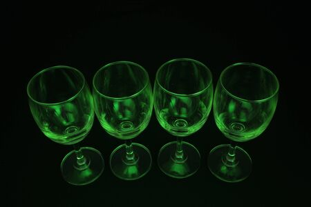 abstract green lighting glass with black background