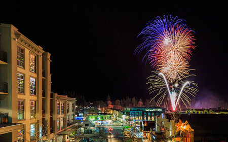 firework on an  opening day of Queenstown Winter Festival above Queenstown town centre, New Zealand