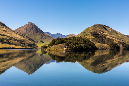 Mountain Reflected in Lake on Calm Day at Moke Lake, Otago Region, South Island, New Zealand