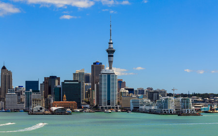 Auckland cityscape, North Island, New Zealand 免版税图像