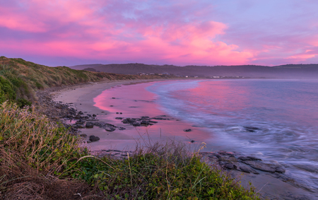 curio: sunset at Curio Bay, the Catlins, New Zealand