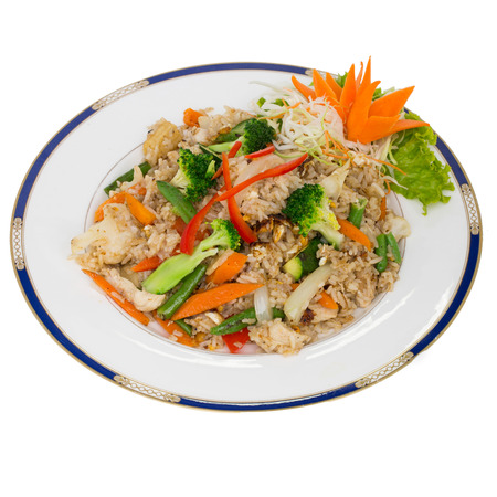 rice plate: fried rice isolated on white background Stock Photo