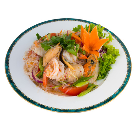 sen: spicy Vermicelli Salad With Seafood Yum Woon Sen Talay isolated on white background