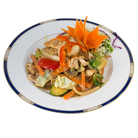 sause: Peanut Sause stir fry with chicken isolated on white background Stock Photo