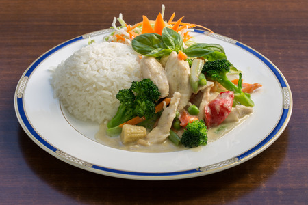 rice plate: image of Green Curry Stir Fry with Rice Stock Photo