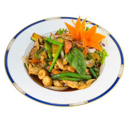 thai basil: Basil and Chilli stir fry isolated on white background Stock Photo
