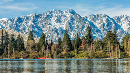 panoramic view of Queenstown, queenstown adventure capital of the world, New Zealand Stock Photo
