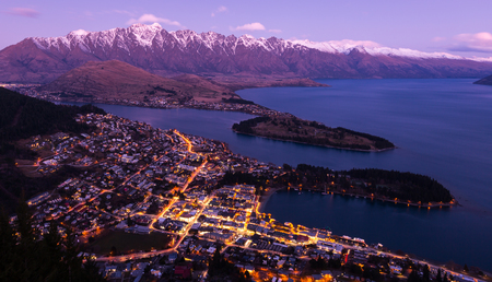city night: Queenstown aerial view at twilight
