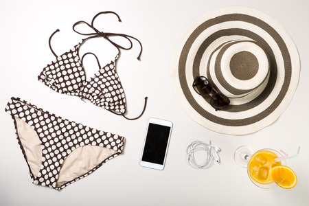 bikini top: Collage of woman clothing and accessories isolated on white background