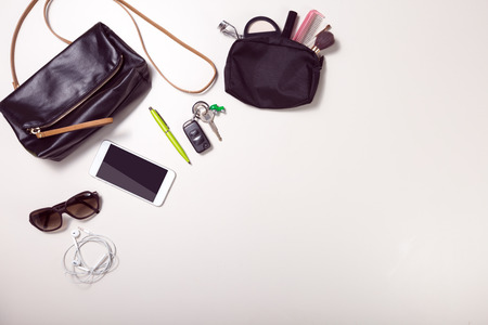 overhead shot of woman stuff with space on button right Stok Fotoğraf - 43191088