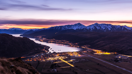 aerial view of Frankton and Lake Wakatipu at twilight  Queenstown, New Zealand