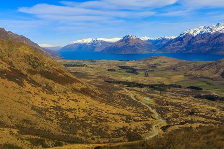 wakatipu: aerial view of road and Lake Wakatipu, New Zealand