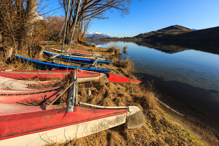 gaff: Scuttled sailing boat by the lake