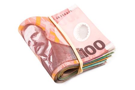 cash money: billetes de dólar a cien cruzados en moneda Nueva Zelanda