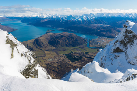 View from top of the Remarkbles Mountain, Queenstown, New Zealand Stok Fotoğraf - 44358568