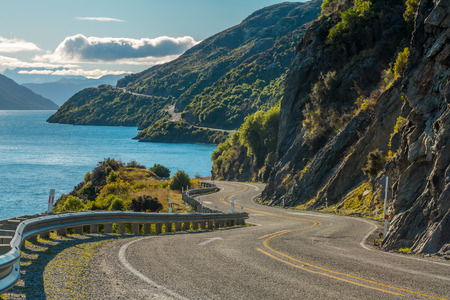 winding road: Road along Lake Wakatipu, Queenstown, New Zealand