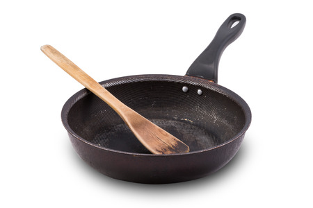 non: used Non stick frying pan isolated on white