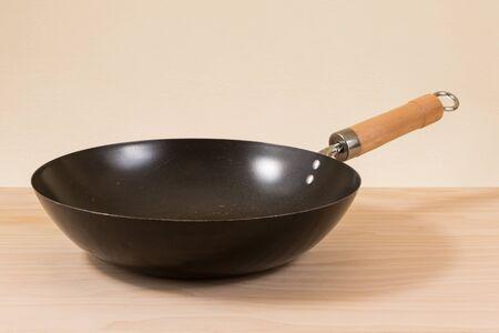 wok: used wok on wooden table