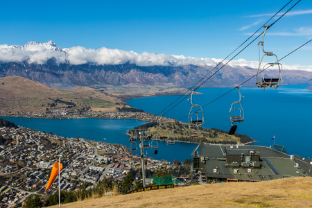 overlook: Queenstown overlook from top of Skyline Gondola, New Zealand Stock Photo