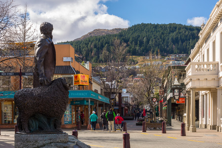 gilbert: Queenstown, New Zealand - September 5: Statue of William Gilbert Rees in Queenstown Mall on September 5, 2015 in Queenstown, New Zealand. Queenstown is a resort town in Otago in the south-west of New Zealands South Island.
