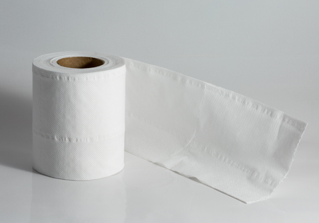 toilet roll: white used toilet roll Stock Photo
