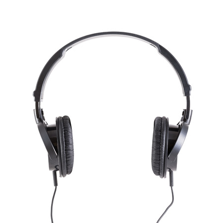 black headphones isolated on white Standard-Bild