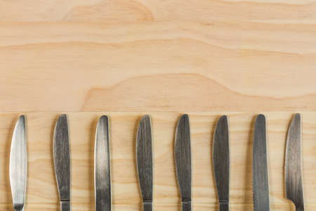 overhead shot: overhead shot image of knifes background Stock Photo