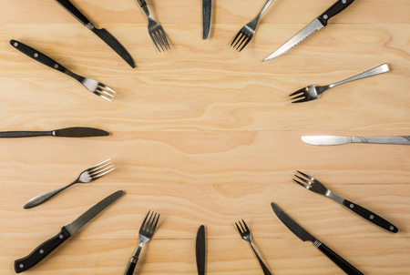 overhead shot: overhead shot image of forks and knifes background