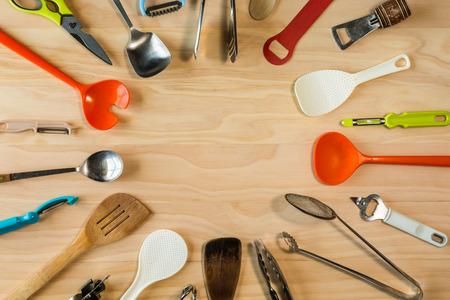 overhead shot: overhead shot image of kitchen equipments background Stock Photo