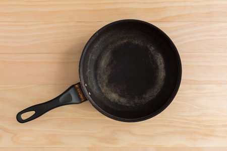 non stick: non stick frying pan on wooden background