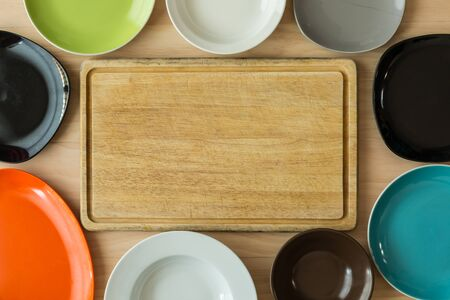 cutting: dishes and cutting board background Stock Photo