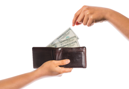 show bill: asimiento billetera con dinero aisladas sobre fondo blanco Foto de archivo