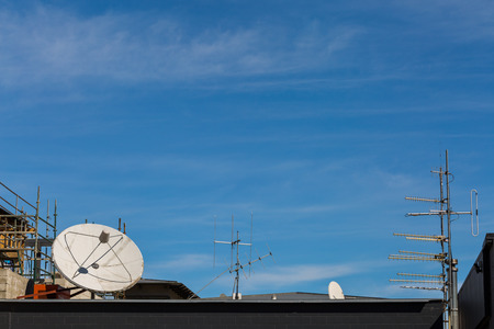 telecast: satellite and antenna on the roof Stock Photo