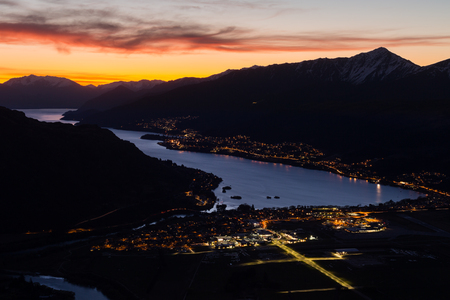 nightscape: aerial view of Queenstown nightscape, New Zealand Stock Photo